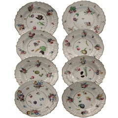 Richard Ginori Antique Eight Flower Design Porcelain Dessert Dishes