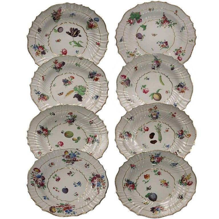 Richard Ginori Antique Eight Flower Design Porcelain Dessert Dishes