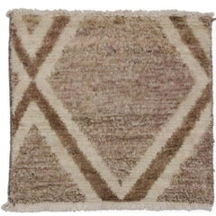 Contemporary Moroccan Style Accent Rug, Square Moroccan Rug