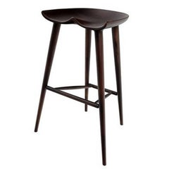 Goebel Cruz Modern Stool Seat, Black Walnut Wood, Bar Counter Seating Handcraft