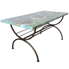 Vintage Green Marble Imitation and Brass Coffee Table