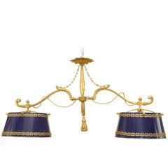 French Victorian Style Bronze Dore Rope Design Billiard Fixture