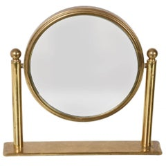 Table Mirror in Brass, Double-Sided Vanity, Adjustable and Magnified