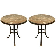 Midcentury Gueridon Tables in Patinated Bronze with Marble Top