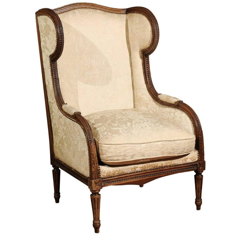 Italian Richly Carved Neoclassical Style 1890s Wooden Bergère with Upholstery