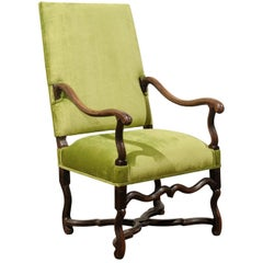 French Louis XIII Style Green Upholstered Carved Fauteuil à la Reine, circa 1820