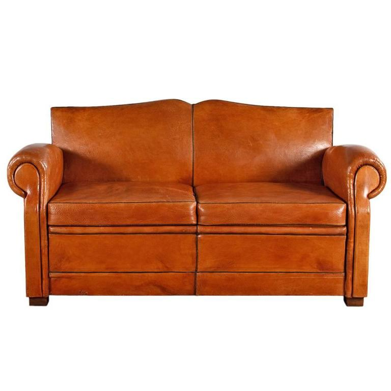 French Art Deco Leather Club Sofa, 1930s at 1stdibs