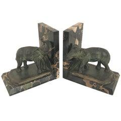 Art Nouveau Marble-Bookends with Bronze-Elephants by MARIONNET, France, 1900s