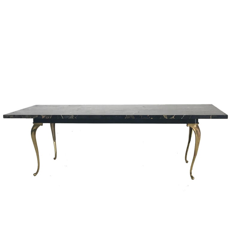 Hollywood Regency Marble and Brass Coffee Table