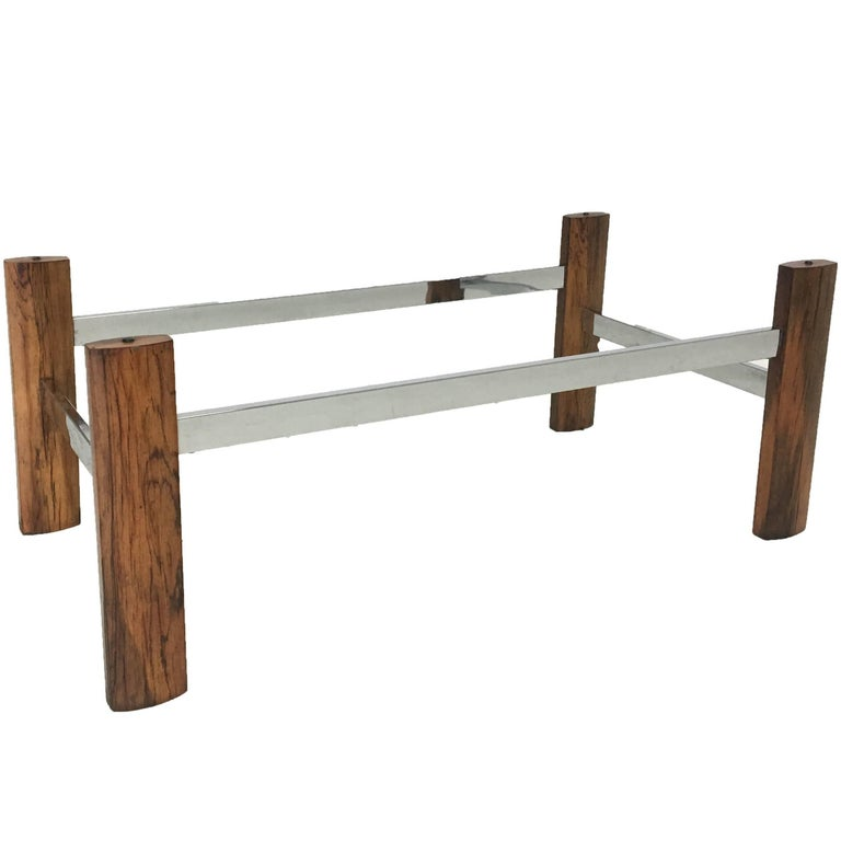 Midcentury Chrome and Rosewood Coffee Table Base