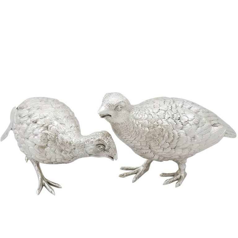 Antique Sterling Silver Table Birds, 1938