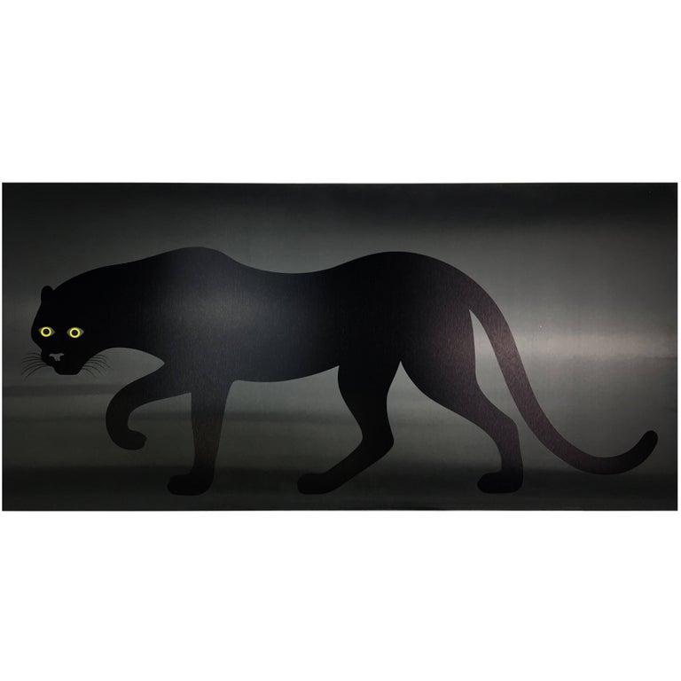 Enzo Mari Panther Poster on Black Plastic