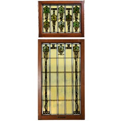 John S. Bradstreet Grape Leaves Stained Glass Window Set