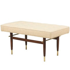 Midcentury Brass and Walnut Tufted Bench