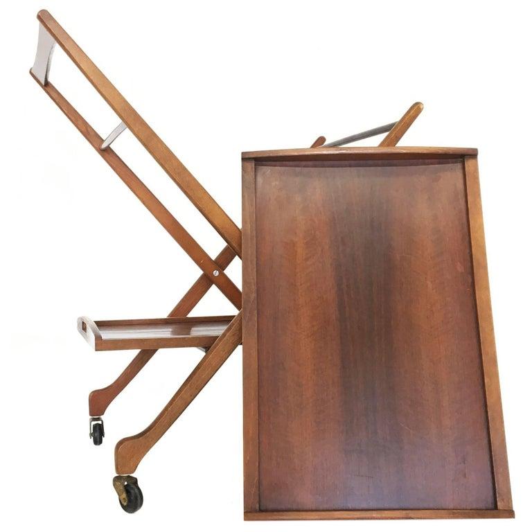Mid-Century Modern Folding Bar Cart in Walnut