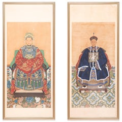 Pair of 19th Century Chinese Framed Ancestor Portraits