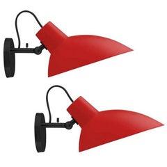 Pair of Vittoriano Viganò 'VV Cinquanta' Sconces in Red and Black