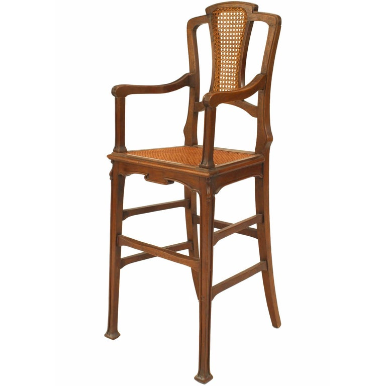 French Art Nouveau Walnut Child's High Chair