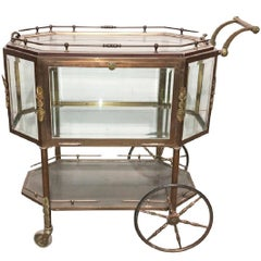 Rare French Brass and Glass Tea Cart