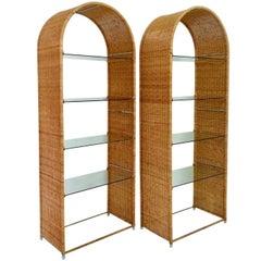Pair of Wicker Bookshelves by Danny Ho Fong for Tropi-Cal