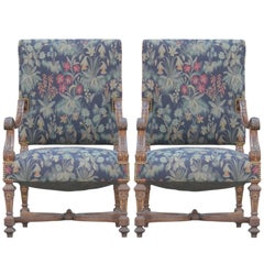 Great Pair of Early French Louis XVI Hand-Carved Walnut Armchairs