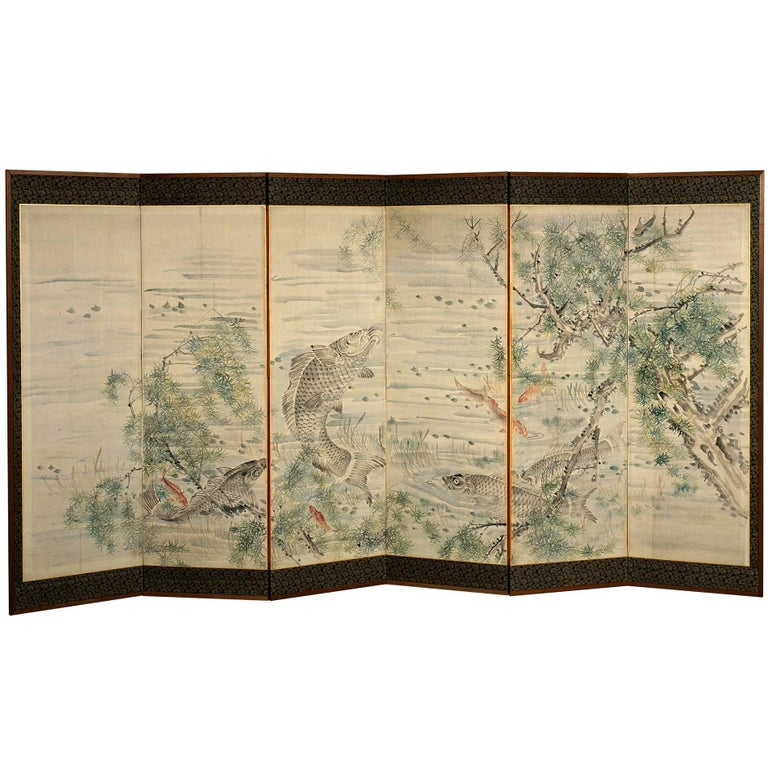 Late 18th Century, Japanese Folding Screen with Carp Design, Edo Period