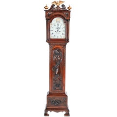 Outstanding Quality Antique Carved Oak 8 Day Grandfather Clock