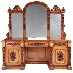 Outstanding Large Victorian Carved Oak Mirror Back Sideboard