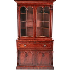 Fine Quality William IV Mahogany Secretaire Bookcase