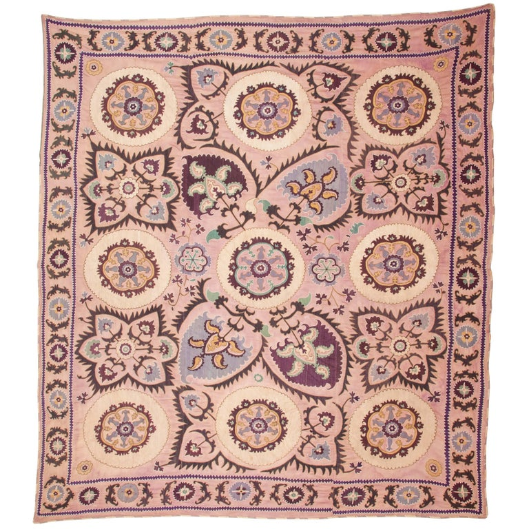 First Half of the 20th Century, Uzbek Suzani, Silk Embroidery on a Cotton Ground