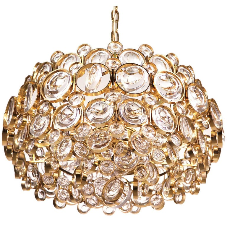 Gold-Plated Crystal Pendant Chandelier by Gaetano Sciolari for Palwa, 1960s