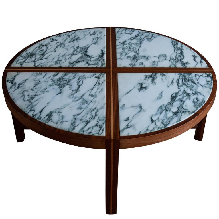 Round Marble and Mahogany Coffee Table by Tommi Parzinger for Charak Modern