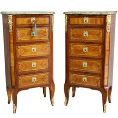 Pair of Louis XVI Style Tulipwood Petit Commodes