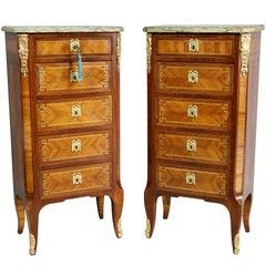 Pair of Louis XVI Style Tulipwood Petit Commodes