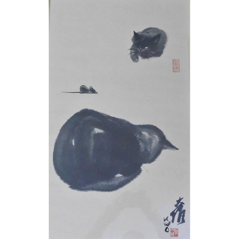 """Dr David Kwo Da-Wei Limited Edition Chinese Lithograph """"Two Cats and a Mouse"""""""