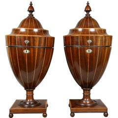 Pair of Regency Mahogany and Inlaid Cutlery Urns