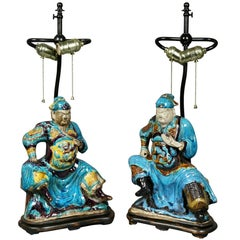 Pair of Chinese Ming Style Pottery Table Lamps