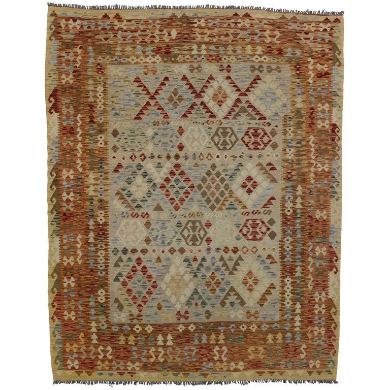 Boho Chic Vintage Afghani Shirvan Kilim Rug with Tribal Style