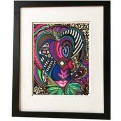 "Framed Abstract ""Growing Her Voice"" Mixed-Media on Paper by Laurel Rosenberg"