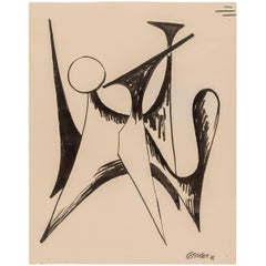 "Alexander Calder Signed & Dated India Ink on Paper ""Stabile Drawing"", USA, 1946"