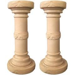 Pair of Electrified Alabaster Columnar Pedestals