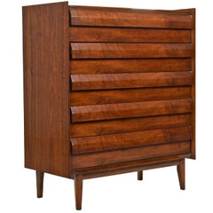 "Mid-Century Modern ""First Edition"" Walnut Highboy Dresser by Lane, circa 1960s"