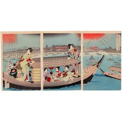 Kunichika Toyohara, Fireworks, Summer, 19th Century, Japanese Woodblock Print
