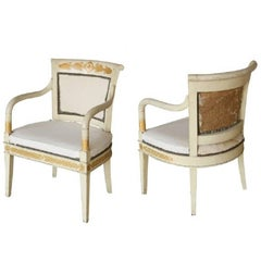Pair of 19th Century Painted French Neoclassical Armchairs
