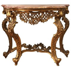 Italian Mid-18th Century Louis XV Giltwood Console with Marble Top