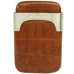 Leather Cigar Case with Silver Fittings