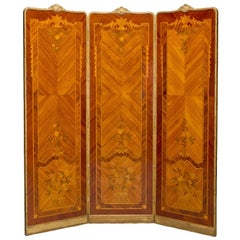 Fine Marquetry Inlaid Three Fold Screen