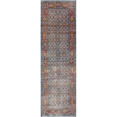 Blue, Red and Green Antique Persian Malayer Runner with Geometric Floral Design
