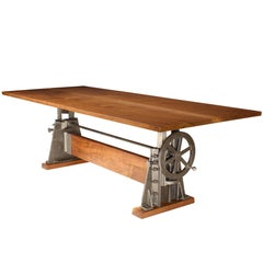 Black Walnut and Cast Iron Adjustable Table