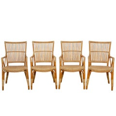 Set of Four Danish Modern Bamboo Dining Chairs